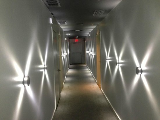 The Marlin Hotel: cool hallway lighting