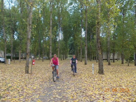 Siblu Villages - Domaine de Dugny: CHris and Ben cycling on the Site Dungy