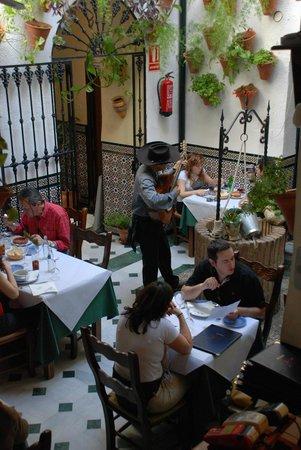Músico amenizando la comida en El Patio Andaluz