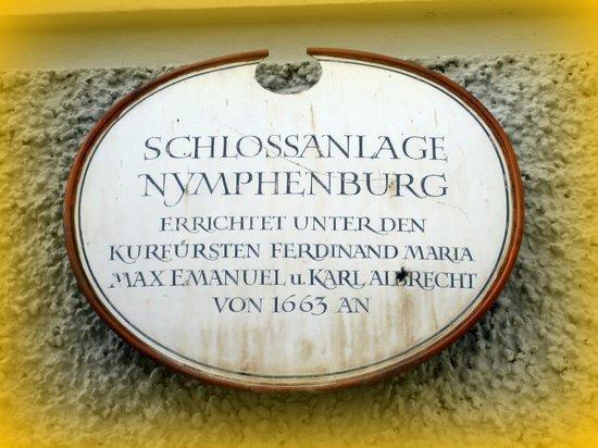Schloss Nymphenburg: Schild