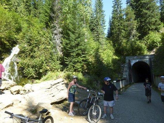 Hiawatha Mountain Bike Trail: The exit to the 1.66 mile long Taft Tunnel