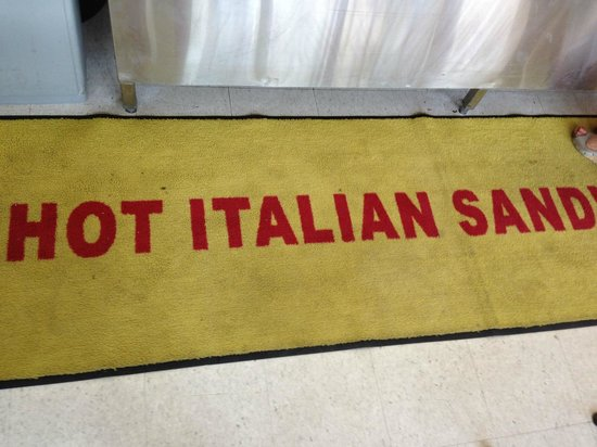 Mama's Hot Italian Sandwiches: And again with the understated branding, this time on the floor mat. Love it!