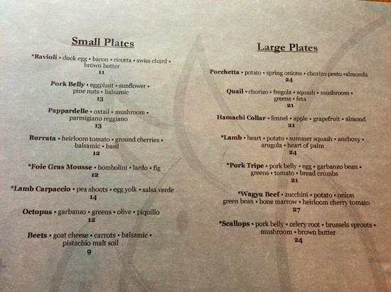 A Pig in a Fur Coat: partial view of menu