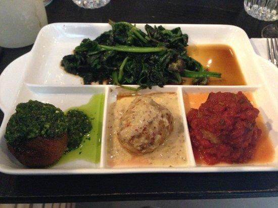 Meatballs: Amsterdam Veggie Ball with Pesto Sauce, Chicken with Honey Mustard Sauce, Spicy Pork with Tomato