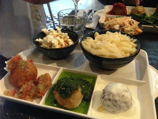 Meatballs: Pumpkin Ball with Salsa Cruda, Garlic Chicken with Fresh Pesto, Tasty Lamb with Yoghurt Sauce