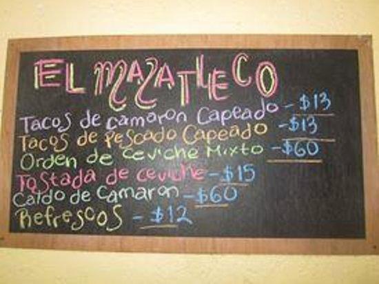 El Mazatleco: Menu