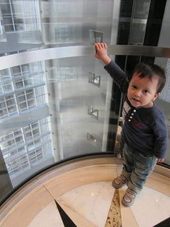 Fairmont Dubai: Enjoying a ride on the elevator
