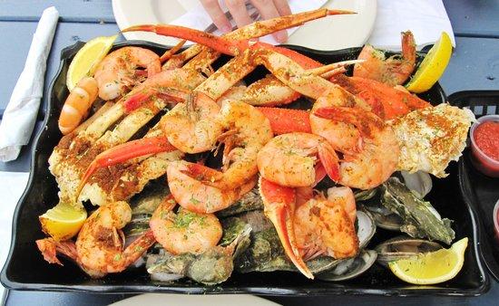 21st Street Seafood Company: Big Bubba Steamed Platter for two: 1 dozen clam, 1 dozen oyster, 1lb shrimp, 1lb crab.