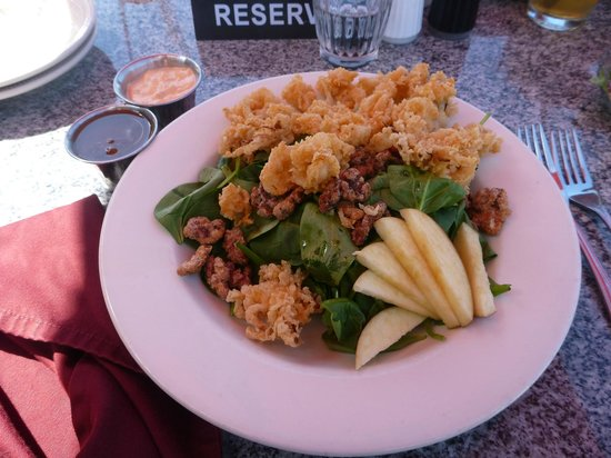 La Conner Seafood & Prime Rib: Salad with calamari, walnuts, and apple (special order)