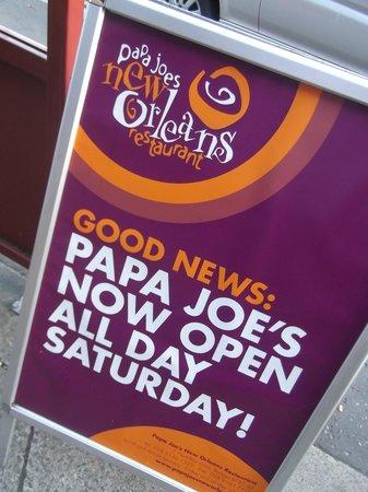 Papa Joe's New Orleans Restaurant: The street-board!