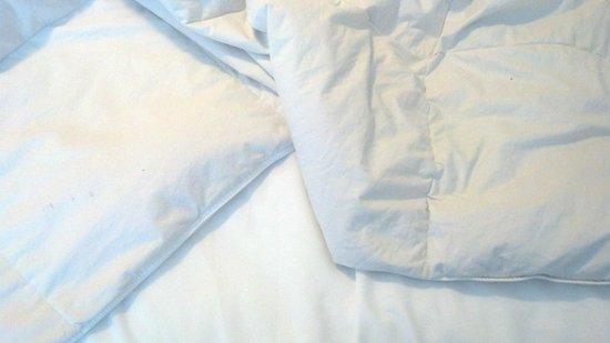 Cayo grande Suites Hotel: Stains/spots on sheets and pillow