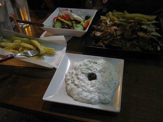 Ya Souvlaki: big gyros with tzatziki, half salad and fries