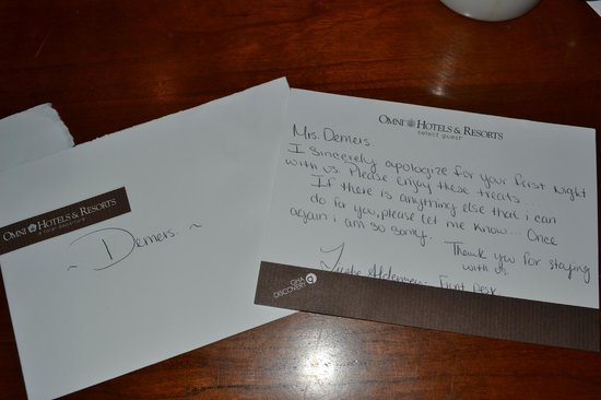 Villas of Amelia Island Plantation: Apology card from Front Desk Clerk with Omni stationary