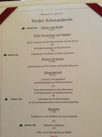 Golserhof: menu