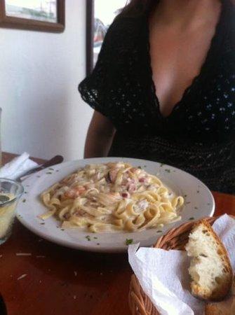 Tulum Trattoria Romana: pasta con camarones tipo Alfredo