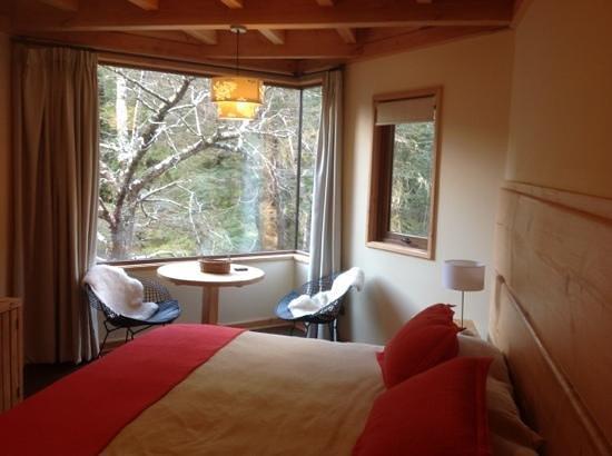 Hotel & Termas Huife: Habitación con vistas al bosque y río