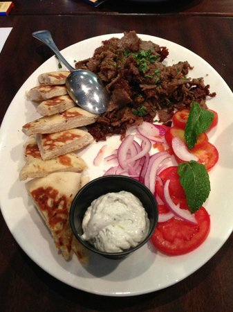 Opa! Authentic Greek Cuisine: Lamb meat on pita appetizier (excellent)