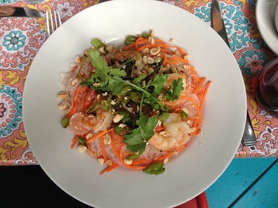 Roots Cafe: shrimp over rice noodles with cilantro