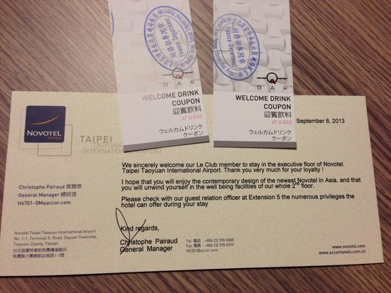 Hotel Novotel Taipei Taoyuan International Airport: Complimentary welcome drink vouchers