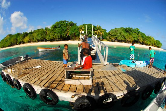 Bokissa Private Island Resort: The jetty - kid's fishing time!