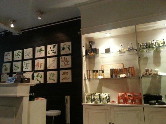 Asia Herb Association - Sawatdee shop: Registration counter with merchandise cabinet