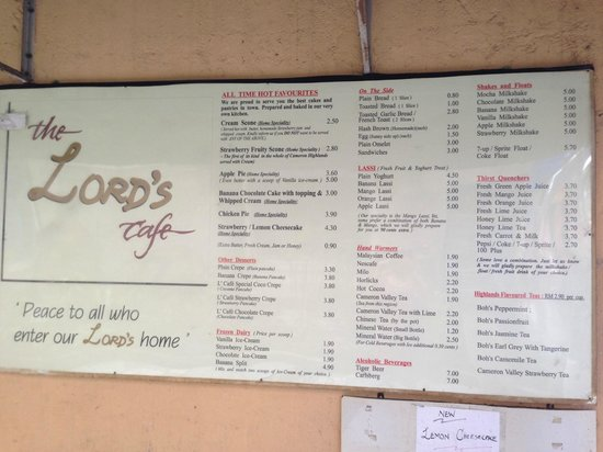 The Lord's Cafe: Menu