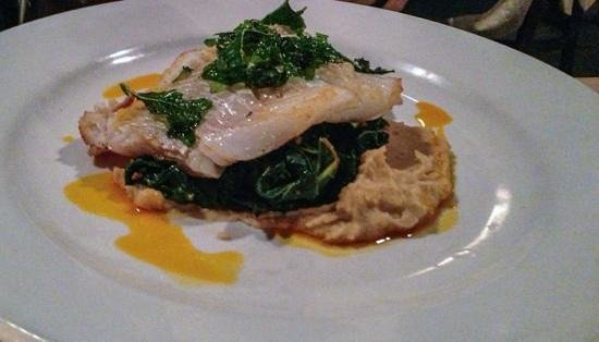 Tip Top Cafe: Cod ( instead of sword fish) with  white bean puree, braised kale, with chorizo, peperonata, fri