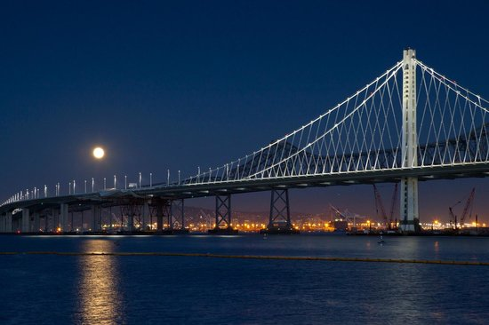 San Francisco Bay Bridge : Harvest Moon Over The New Bay Bridge