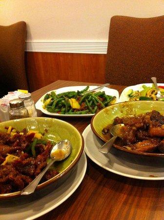 Golden City Restaurant: From lower left, Ginger Beef, Szechuan Green Beans with Pork, Mushroom Chop Suey, Pork Spareribs