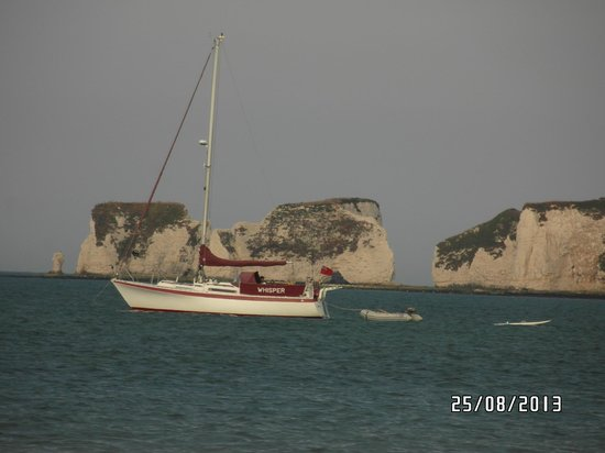 Studland beach and Nature Reserve : Old Harry Rocks seen from the beach