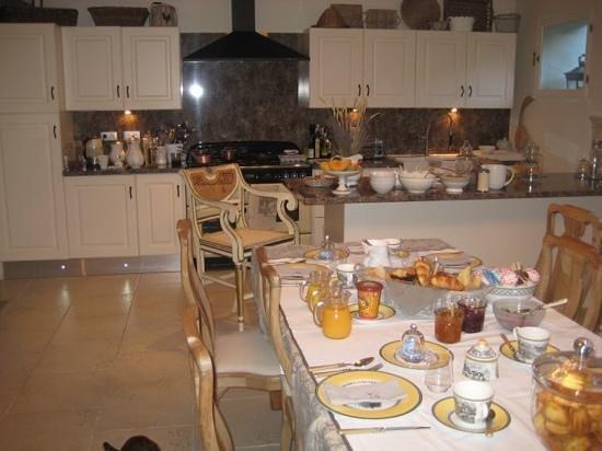 52 Eymet :  The Kitchen Set up For Breakfast