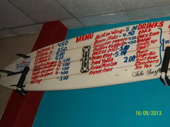 California Burgers and Beer: surf board on wall with menu selections