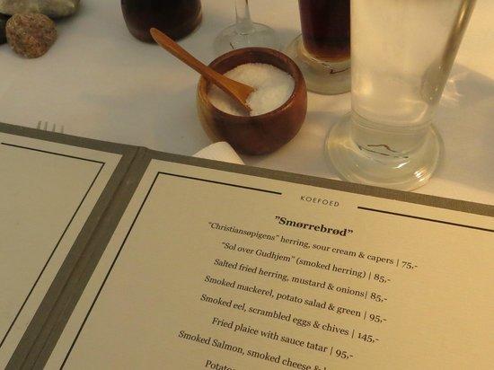 Restaurant Koefoed : il menù