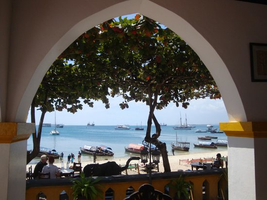 Tembo House  Hotel & Apartments: View from the patio to the beach