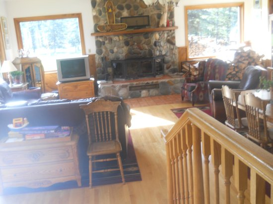 Denali Dome Home Bed and Breakfast : Stone fireplace in large den