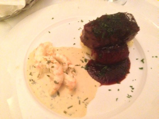 Aherne's of Youghal : surf and turf ( delicious fillet steak and prawns)