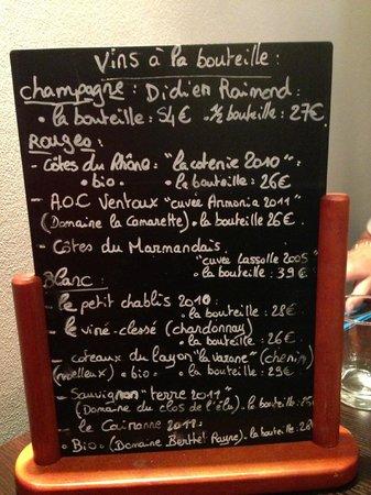 Le Poivron Bleu : carte des vins
