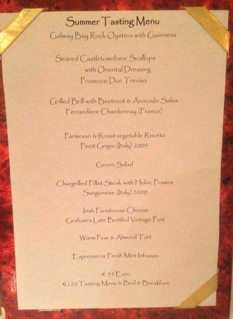 Aherne's of Youghal : le menu