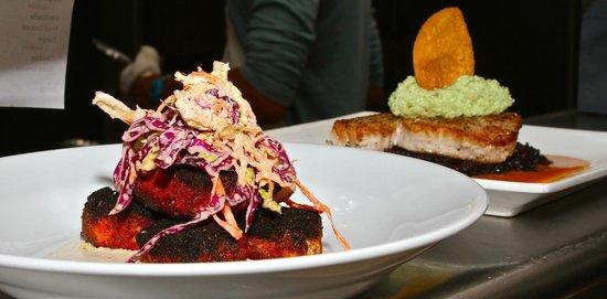 The Coast: Blackened Tuna Tidbits, Horseradish Slaw & Seared Tuna, Cucumber Edamame Hummus, Carrot-Ginger S