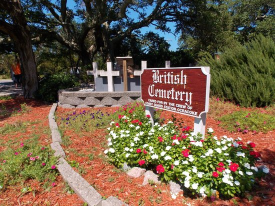 British Cemetery: Main entrance signage