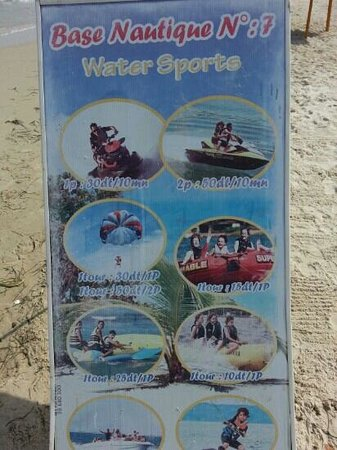 Skanes Family Resort: water sports prices