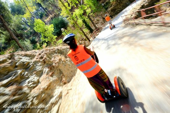 Segway Malaga Tours: flying back down the hill (taken one handed whilst riding - great fun) - yes tours you can use t