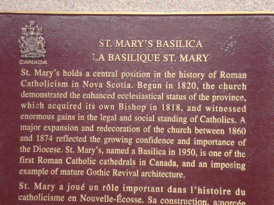 St. Mary's Basilica: Plague at entrance to Saint Mary's Cathedral Basilica