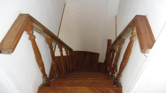Steep stairs to upper bedroom