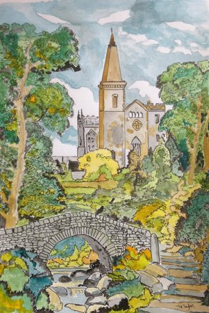 Dunfermline Abbey and Palace: A Pen and Ink of the Abbey by the reviewer.