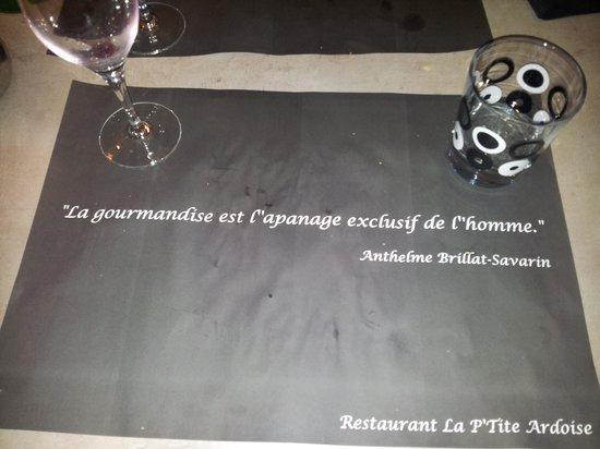 La P'tite Ardoise: sets de table