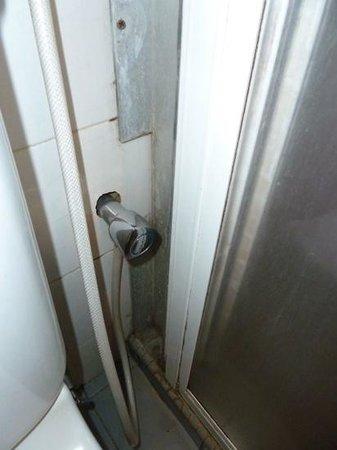 Shahzan Inn: Cabine de douche moisie avec porte coulissante cassées