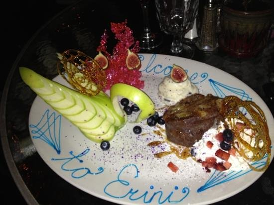 Erini Restaurant: here is the special dessert prepared by the chef