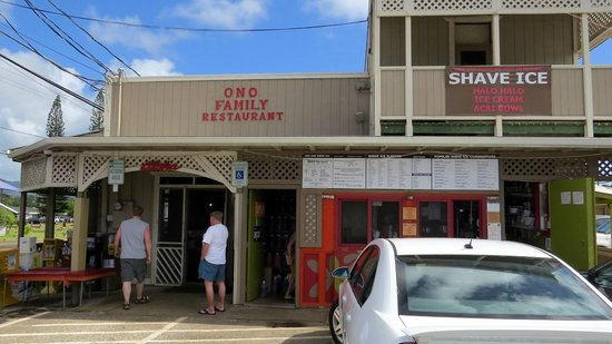Ono Family Restaurant and Shave Ice: Our son and my husband entering Ono