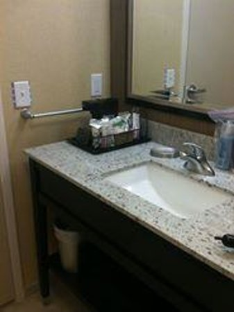 Hampton Inn & Suites Washington, DC North / Gaithersburg: Bathroom vanity, coffee service but no tea.  Hairdryer on bottom shelf.
